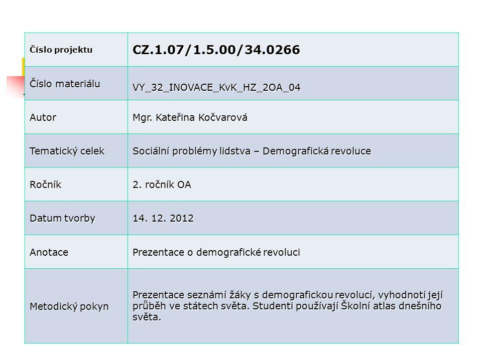 Číslo projektu CZ.1.07/1.5.00/34.0266 Číslo materiálu VY_32_INOVACE_KvK_HZ_2OA_04 Autor Mgr. Kateřina Kočvarová Tematický celek Sociální problémy lids
