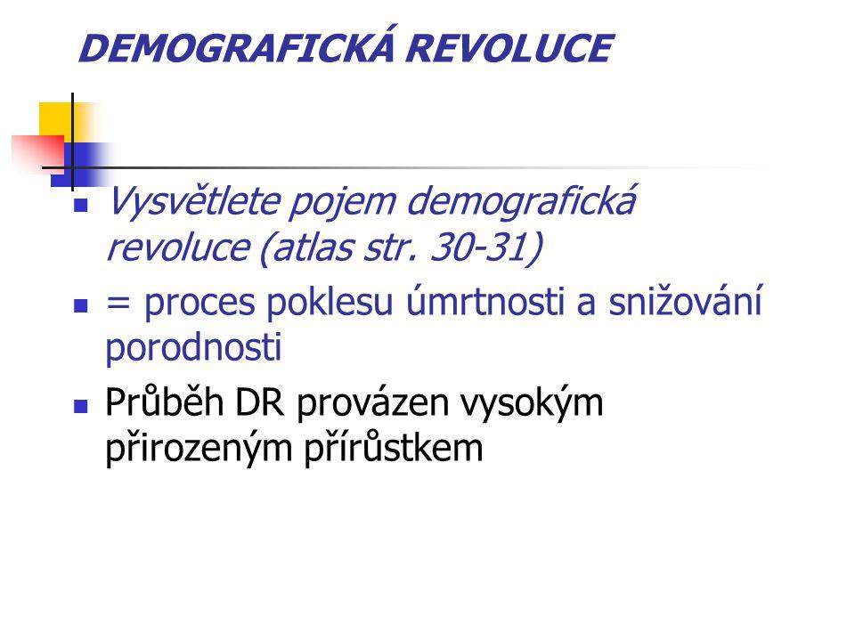 DEMOGRAFICKÁ REVOLUCE Vysvětlete pojem demografická revoluce (atlas str. 30-31) = proces poklesu úmrtnosti a snižování porodnosti Průběh DR provázen v