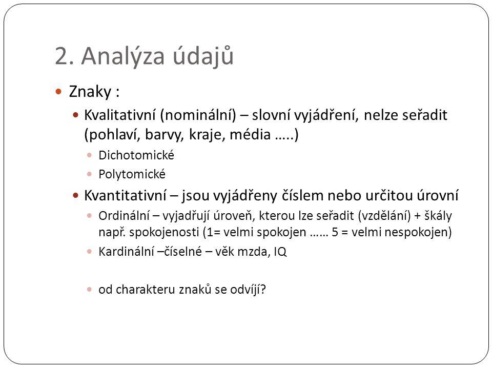 2. Analýza údajů Znaky : Kvalitativní (nominální) – slovní vyjádření, nelze seřadit (pohlaví, barvy, kraje, média …..) Dichotomické Polytomické Kvanti