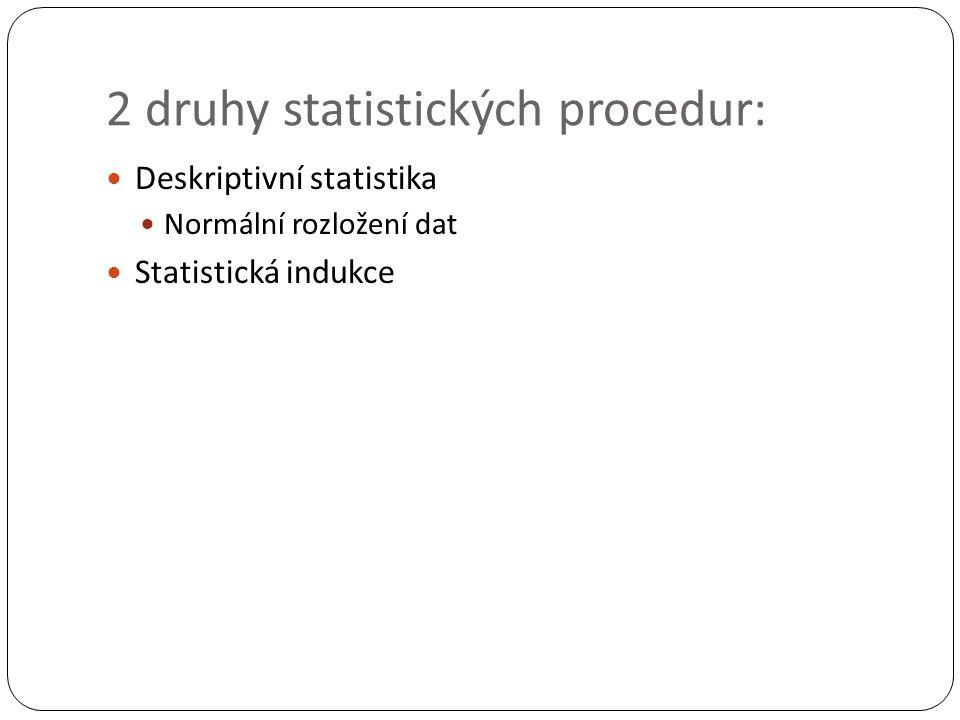 2 druhy statistických procedur: Deskriptivní statistika Normální rozložení dat Statistická indukce