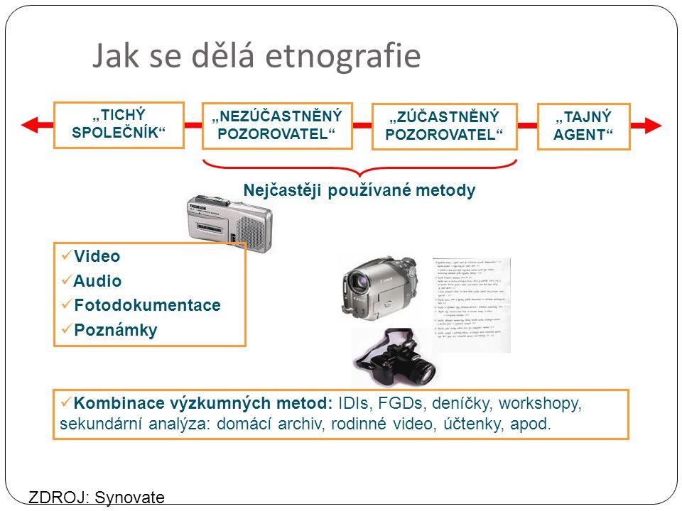 """Jak se dělá etnografie Nejčastěji používané metody """"TICHÝ SPOLEČNÍK """"NEZÚČASTNĚNÝ POZOROVATEL """"ZÚČASTNĚNÝ POZOROVATEL """"TAJNÝ AGENT Kombinace výzkumných metod: IDIs, FGDs, deníčky, workshopy, sekundární analýza: domácí archiv, rodinné video, účtenky, apod."""