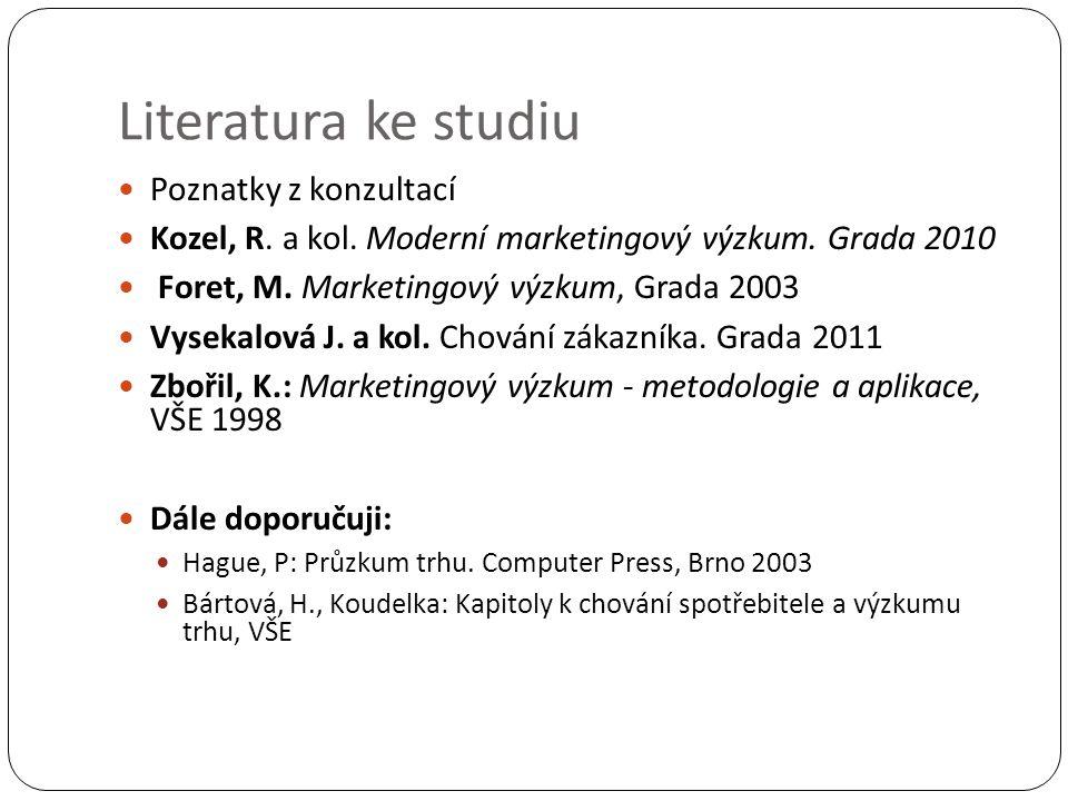 Literatura ke studiu Poznatky z konzultací Kozel, R.