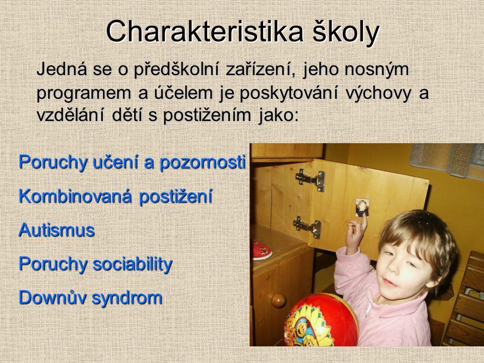 Charakteristika školy Jedná se o předškolní zařízení, jeho nosným programem a účelem je poskytování výchovy a vzdělání dětí s postižením jako: Poruchy učení a pozornosti Kombinovaná postižení Autismus Poruchy sociability Downův syndrom