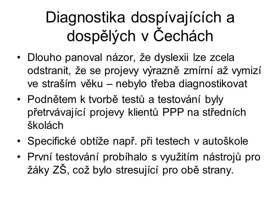 Diagnostika dospívajících a dospělých v Čechách Dlouho panoval názor, že dyslexii lze zcela odstranit, že se projevy výrazně zmírní až vymizí ve straš