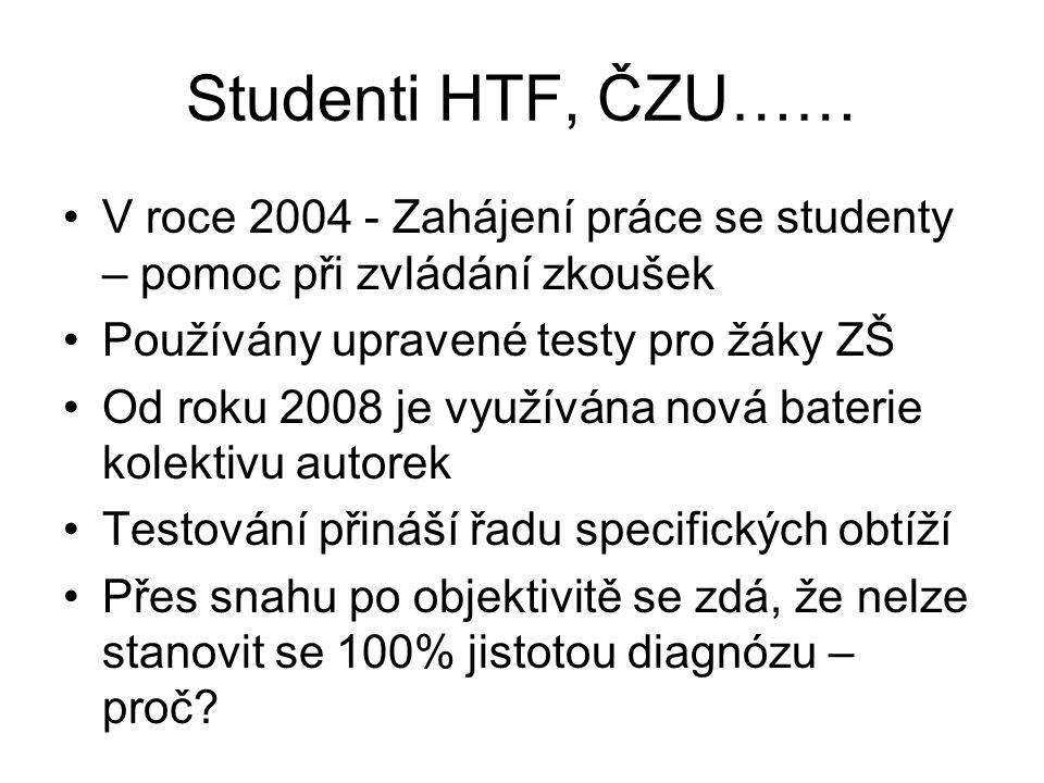 Studenti HTF, ČZU…… V roce 2004 - Zahájení práce se studenty – pomoc při zvládání zkoušek Používány upravené testy pro žáky ZŠ Od roku 2008 je využívá