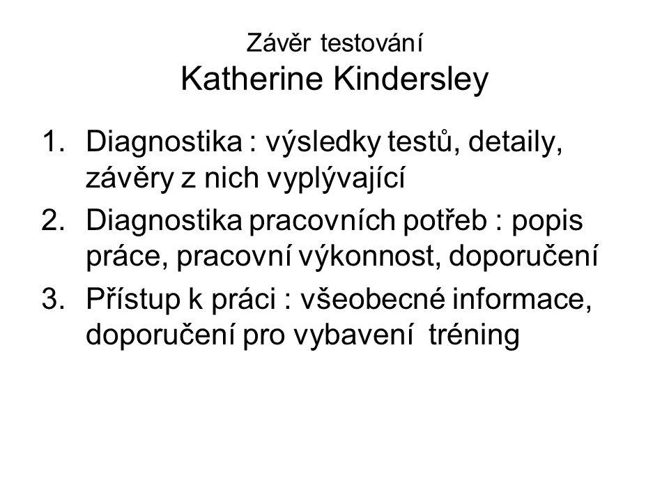 Závěr testování Katherine Kindersley 1.Diagnostika : výsledky testů, detaily, závěry z nich vyplývající 2.Diagnostika pracovních potřeb : popis práce,