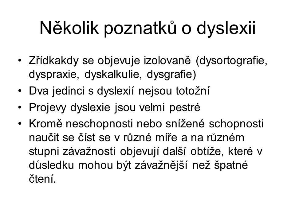 Několik poznatků o dyslexii Zřídkakdy se objevuje izolovaně (dysortografie, dyspraxie, dyskalkulie, dysgrafie) Dva jedinci s dyslexií nejsou totožní P