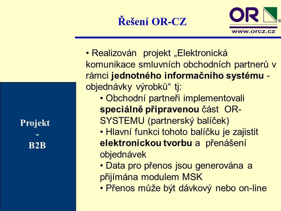 """Řešení OR-CZ Realizován projekt """"Elektronická komunikace smluvních obchodních partnerů v rámci jednotného informačního systému - objednávky výrobků"""" t"""