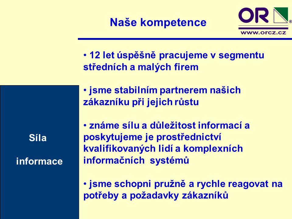 Naše kompetence Síla informace 12 let úspěšně pracujeme v segmentu středních a malých firem jsme stabilním partnerem našich zákazníku při jejich růstu