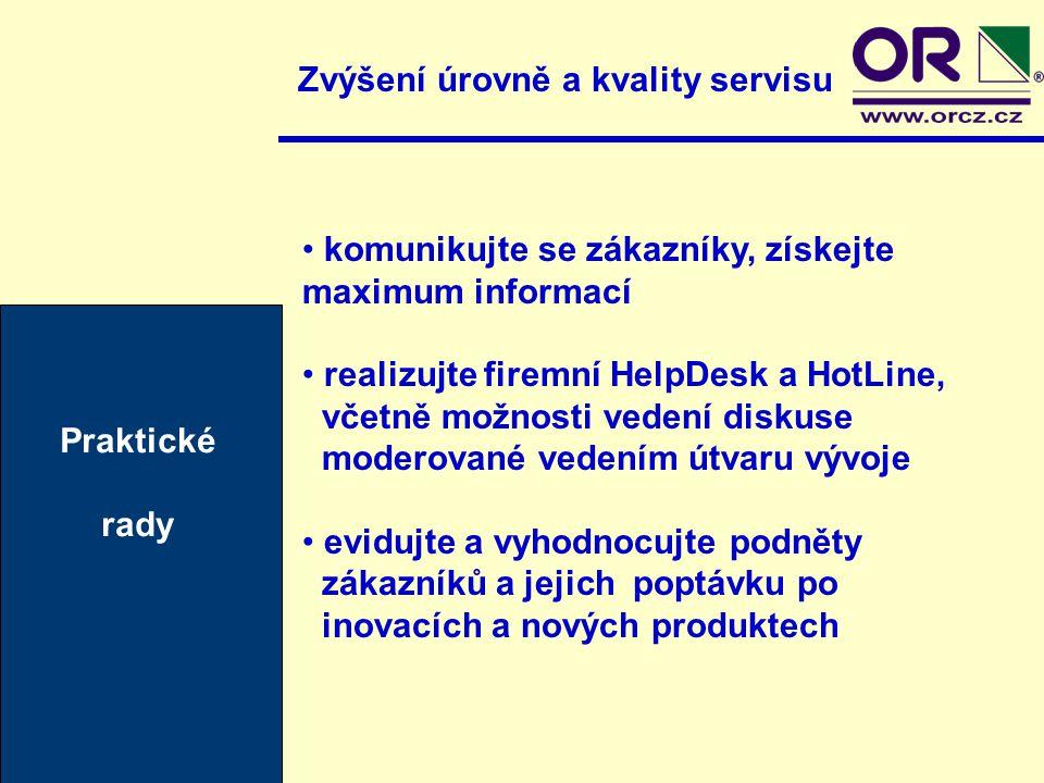 Zvýšení úrovně a kvality servisu komunikujte se zákazníky, získejte maximum informací realizujte firemní HelpDesk a HotLine, včetně možnosti vedení di
