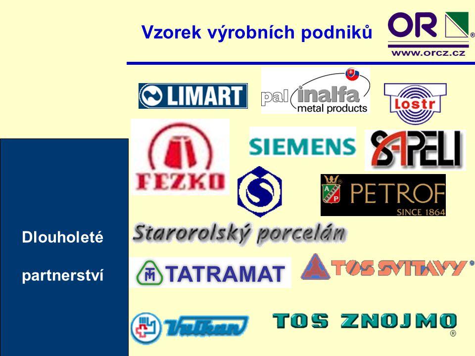 Vzorek výrobních podniků Noví zákazníci = nová partnerství DZD Dražicezáří 2001 Rückl Crystal Nižborzáří 2001 H.L.F.