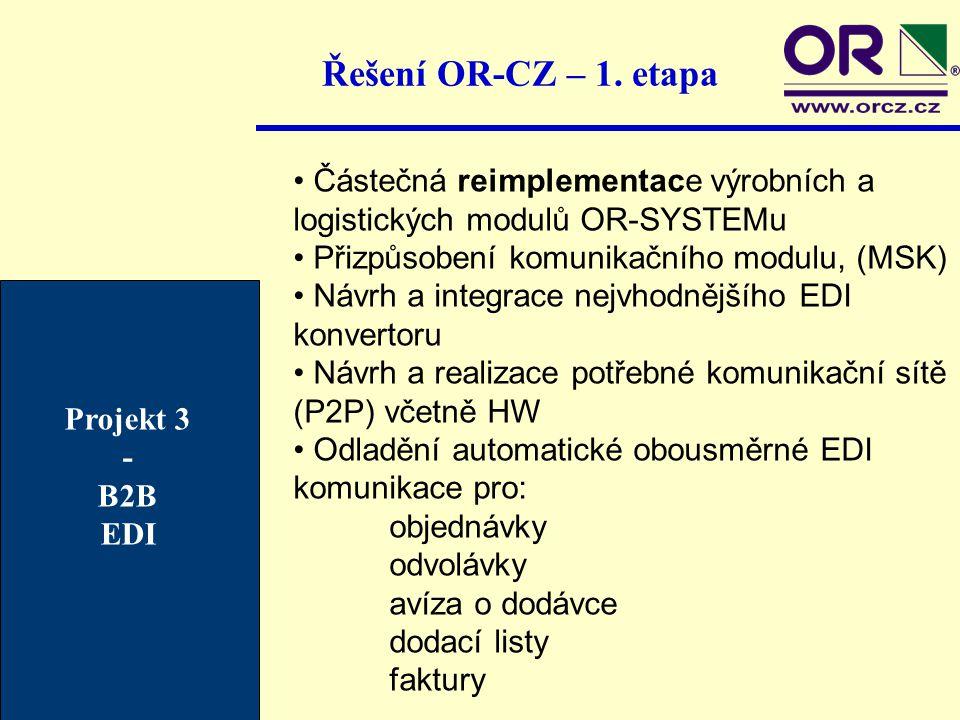 Řešení OR-CZ – 1. etapa Částečná reimplementace výrobních a logistických modulů OR-SYSTEMu Přizpůsobení komunikačního modulu, (MSK) Návrh a integrace
