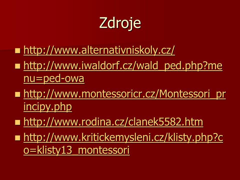 Zdroje http://www.alternativniskoly.cz/ http://www.alternativniskoly.cz/ http://www.alternativniskoly.cz/ http://www.iwaldorf.cz/wald_ped.php?me nu=pe