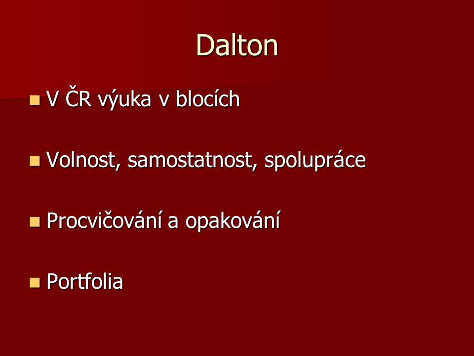 Dalton V ČR výuka v blocích V ČR výuka v blocích Volnost, samostatnost, spolupráce Volnost, samostatnost, spolupráce Procvičování a opakování Procvičo