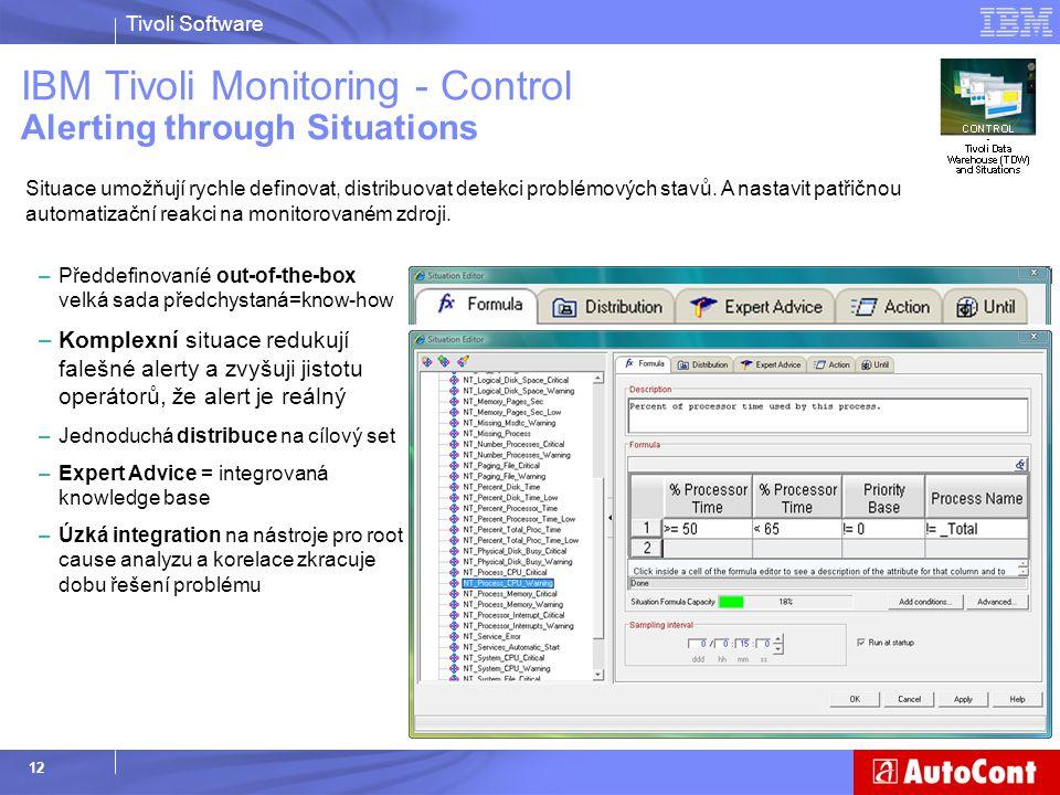 Tivoli Software 12 Situace umožňují rychle definovat, distribuovat detekci problémových stavů. A nastavit patřičnou automatizační reakci na monitorova
