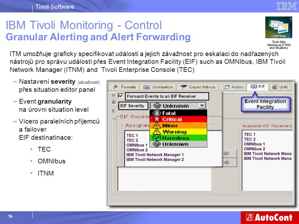 Tivoli Software 16 ITM umožňuje graficky specifikovat události a jejich závažnost pro eskalaci do nadřazených nástrojů pro správu událostí přes Event