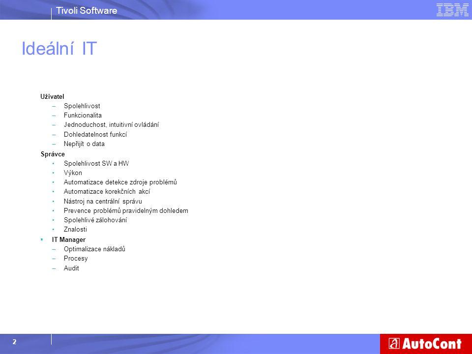 Tivoli Software 2 Ideální IT Uživatel –Spolehlivost –Funkcionalita –Jednoduchost, intuitivní ovládání –Dohledatelnost funkcí –Nepřijít o data Správce