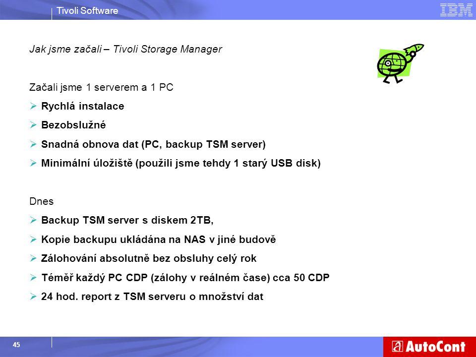 Tivoli Software 45 Jak jsme začali – Tivoli Storage Manager Začali jsme 1 serverem a 1 PC  Rychlá instalace  Bezobslužné  Snadná obnova dat (PC, ba