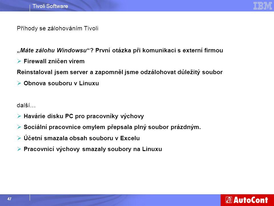 """Tivoli Software 47 Příhody se zálohováním Tivoli """"Máte zálohu Windowsu""""? První otázka při komunikaci s externí firmou  Firewall zničen virem Reinstal"""