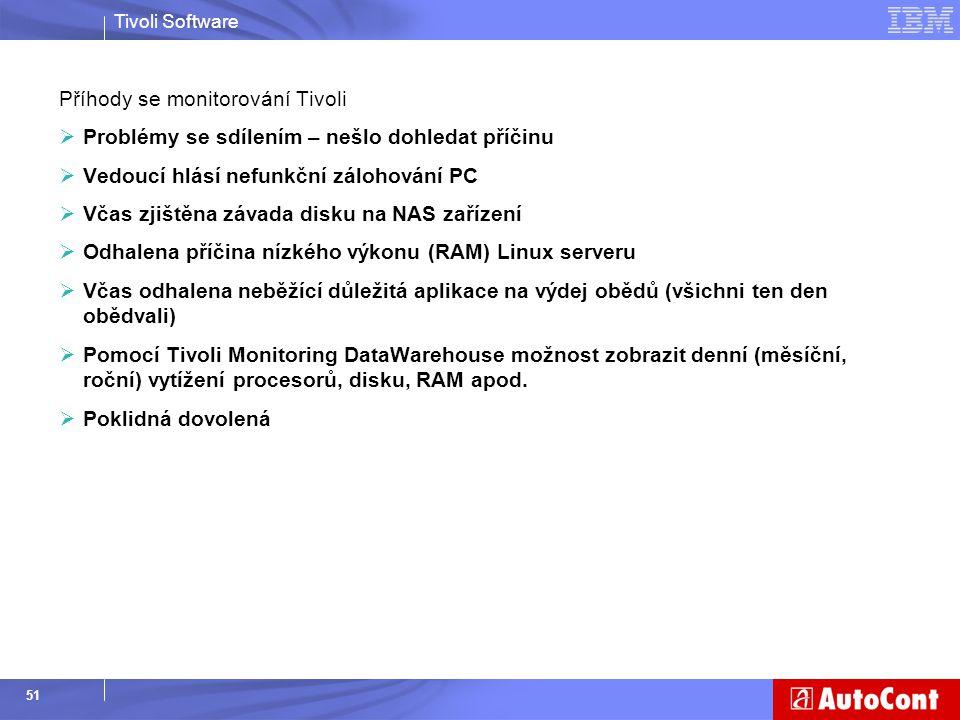Tivoli Software 51 Příhody se monitorování Tivoli  Problémy se sdílením – nešlo dohledat příčinu  Vedoucí hlásí nefunkční zálohování PC  Včas zjišt