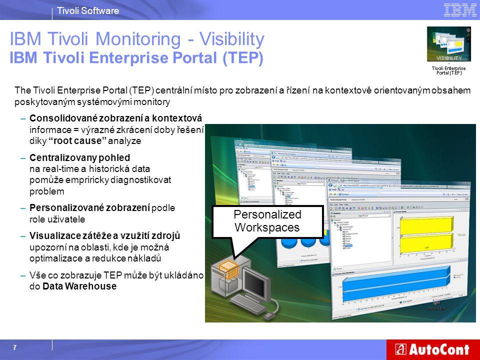 Tivoli Software 7 IBM Tivoli Monitoring - Visibility IBM Tivoli Enterprise Portal (TEP) The Tivoli Enterprise Portal (TEP) centrální místo pro zobraze