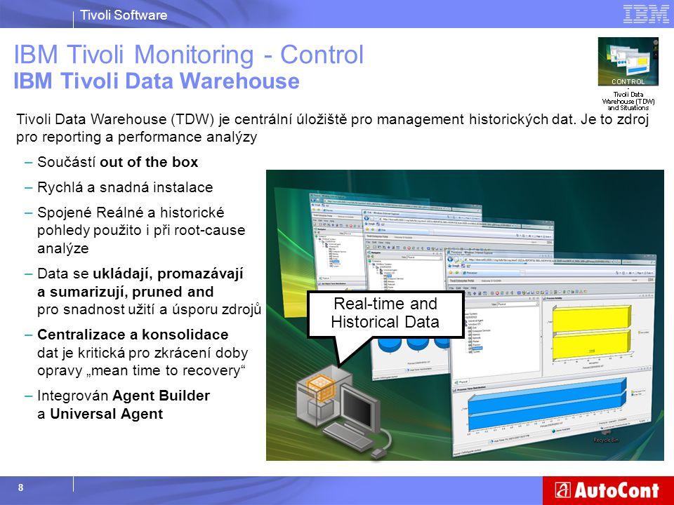 Tivoli Software 49 Jaký byl počátek – Tivoli Monitoring  Neměli jsme centrální přehled  Analýza problémů ruční, náročná, často placená  Technické problémy se hledaly velmi obtížně  Špatný odhad vytížení serveru (procesor, RAM, LAN apod.)  Technické problémy (služby) se spouštěly ručně Dnes  Sleduje Systémy  Sleduje zálohování  Diagnostikuje příčinu problému  Automaticky koriguje nebo upozorňuje na problém  Jediné místo, které je třeba kontrovat