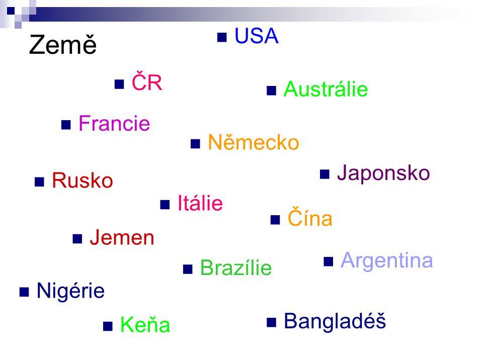 Země ČR USA Francie Austrálie Japonsko Německo Rusko Itálie Čína Jemen Argentina Brazílie Nigérie Keňa Bangladéš