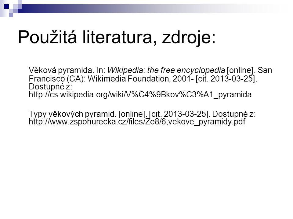 Použitá literatura, zdroje: Věková pyramida. In: Wikipedia: the free encyclopedia [online]. San Francisco (CA): Wikimedia Foundation, 2001- [cit. 2013