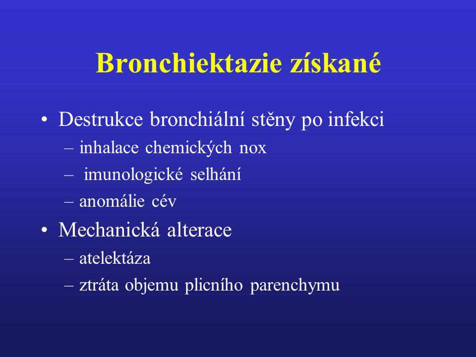 Bronchiektazie získané Těžké pneumonie (spalničky, pertuse, adenovirové infekce zvláště u dětí) Nekrotizující infekce v každem věku (klebsiella, stafylokoky, virus chřipky, kvasinky, mykoplazmata, mykobakterie) bronchiální obstrukce (cizí těleso, zvětšená uzlina, Ca plic, patologie sliznice)