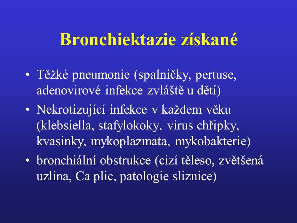 Bronchiektazie Wiliams-Campbellův sy –částečné nebo úplné chybění chrupavky mimo hlavní segmentární bronchy Bronchopulmonální aspergilóza Deficit humorální imunity