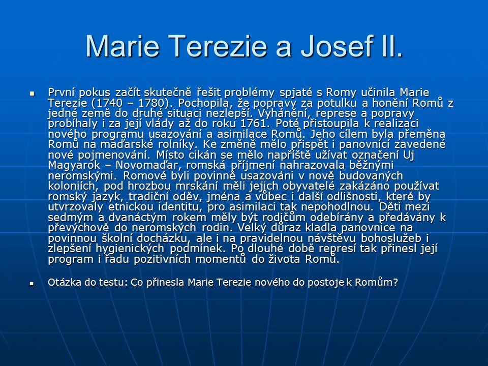 Marie Terezie a Josef II. První pokus začít skutečně řešit problémy spjaté s Romy učinila Marie Terezie (1740 – 1780). Pochopila, že popravy za potulk