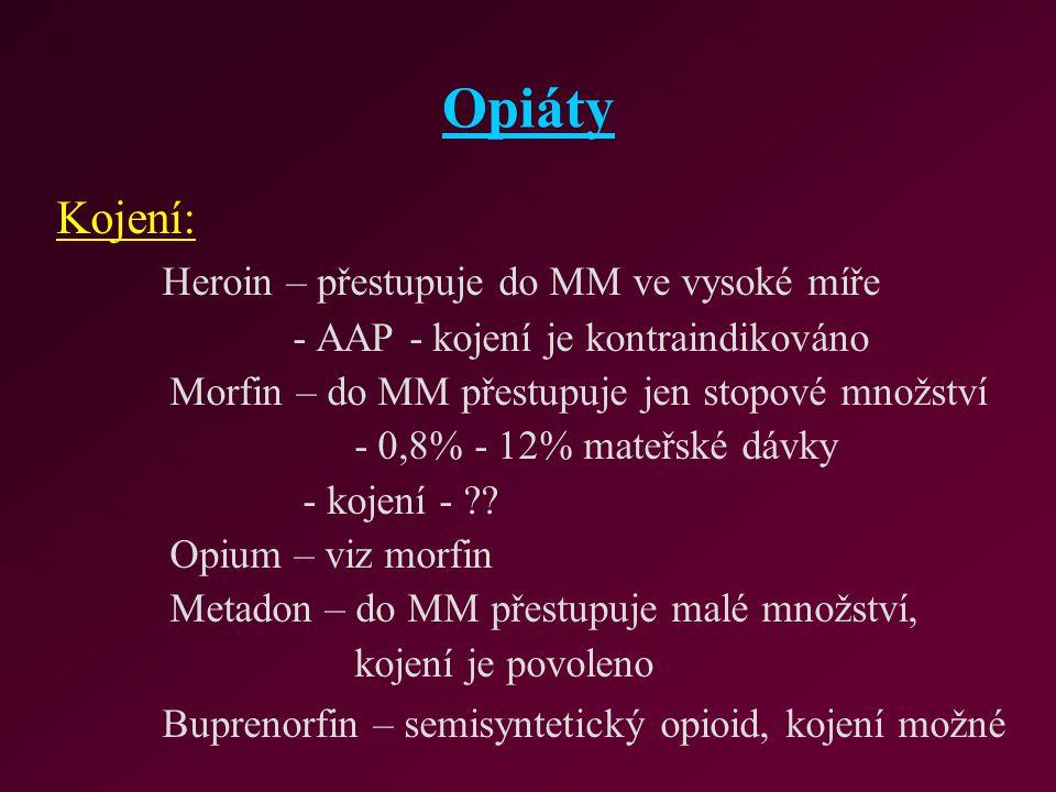 Opiáty Kojení: Heroin – přestupuje do MM ve vysoké míře - AAP - kojení je kontraindikováno Morfin – do MM přestupuje jen stopové množství - 0,8% - 12%