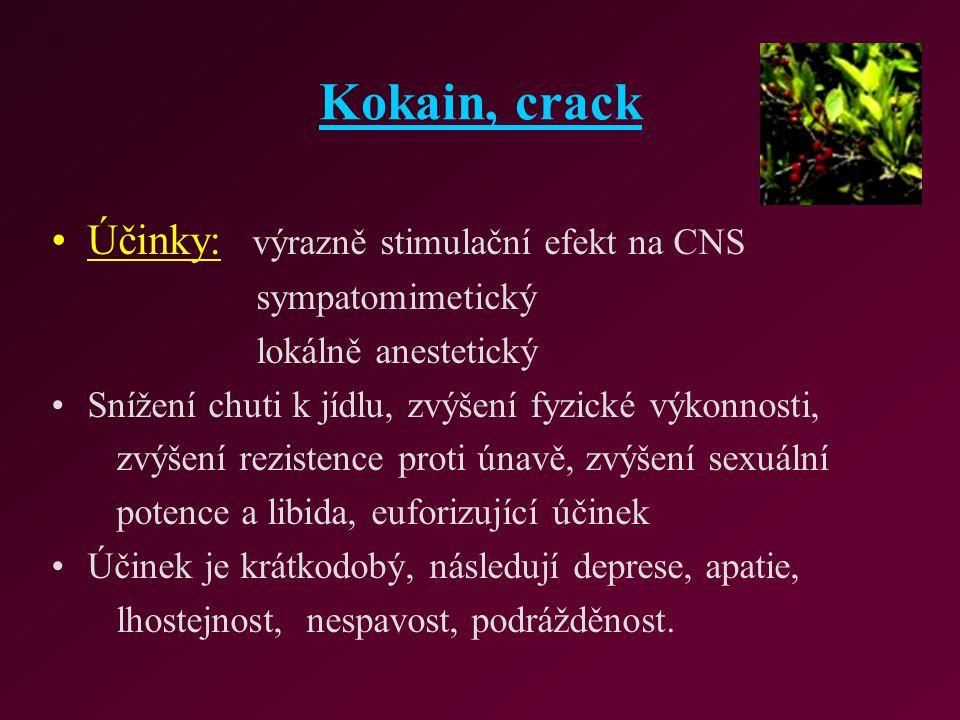 Kokain, crack Účinky: výrazně stimulační efekt na CNS sympatomimetický lokálně anestetický Snížení chuti k jídlu, zvýšení fyzické výkonnosti, zvýšení