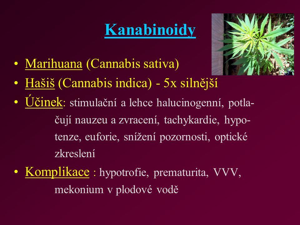 Kanabinoidy Marihuana (Cannabis sativa) Hašiš (Cannabis indica) - 5x silnější Účinek : stimulační a lehce halucinogenní, potla- čují nauzeu a zvracení