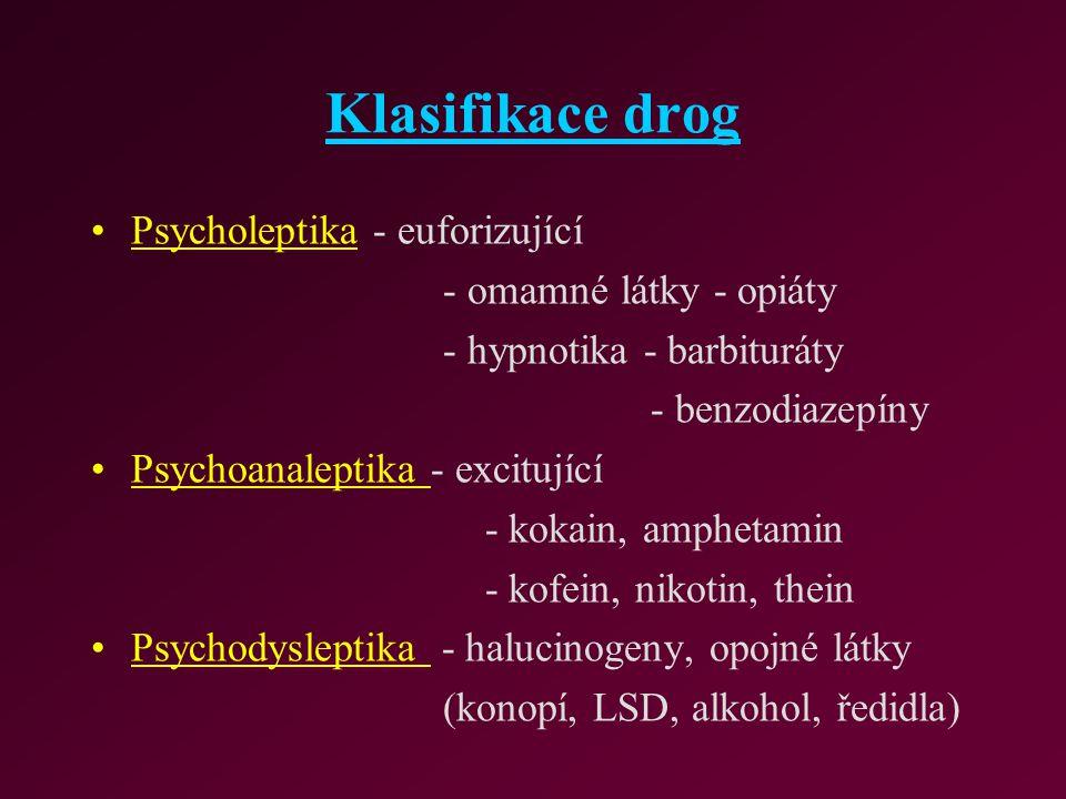 Klasifikace drog Psycholeptika - euforizující - omamné látky - opiáty - hypnotika - barbituráty - benzodiazepíny Psychoanaleptika - excitující - kokai