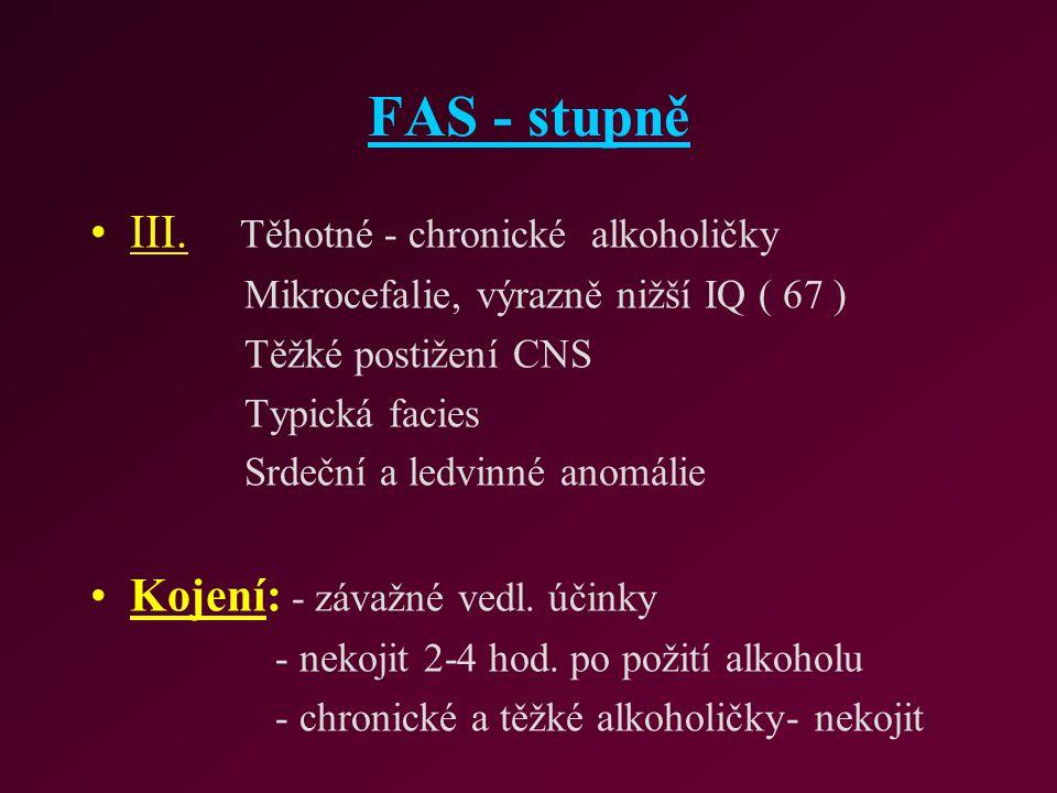 FAS - stupně III. Těhotné - chronické alkoholičky Mikrocefalie, výrazně nižší IQ ( 67 ) Těžké postižení CNS Typická facies Srdeční a ledvinné anomálie