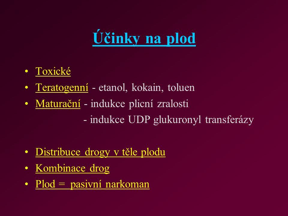Účinky na plod Toxické Teratogenní - etanol, kokain, toluen Maturační - indukce plicní zralosti - indukce UDP glukuronyl transferázy Distribuce drogy