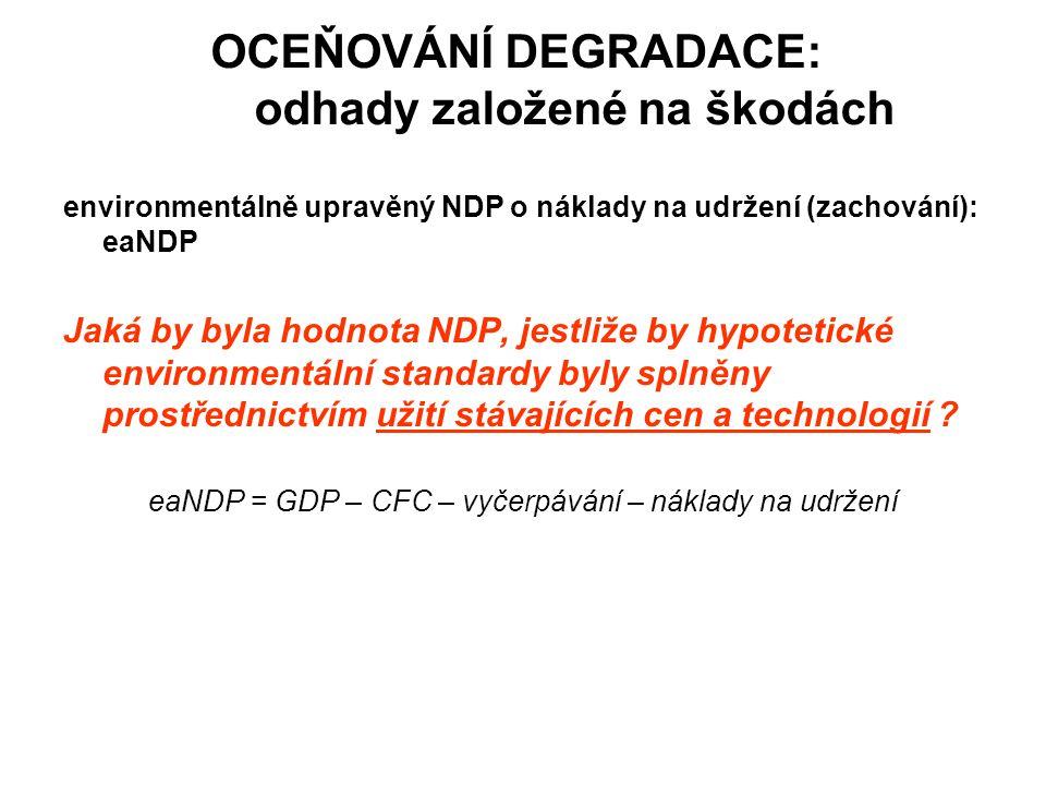 OCEŇOVÁNÍ DEGRADACE: odhady založené na škodách environmentálně upravěný NDP o náklady na udržení (zachování): eaNDP Jaká by byla hodnota NDP, jestliž