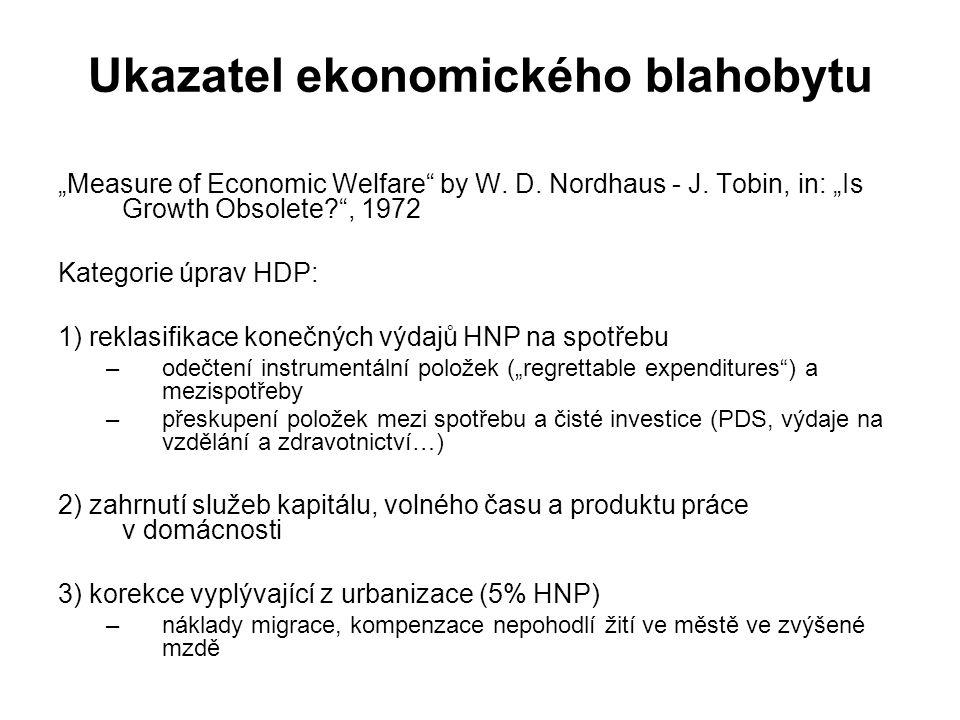 """Ukazatel ekonomického blahobytu """"Measure of Economic Welfare"""" by W. D. Nordhaus - J. Tobin, in: """"Is Growth Obsolete?"""", 1972 Kategorie úprav HDP: 1) re"""