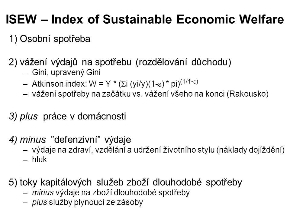 ISEW – Index of Sustainable Economic Welfare 1) Osobní spotřeba 2) vážení výdajů na spotřebu (rozdělování důchodu) –Gini, upravený Gini –Atkinson inde