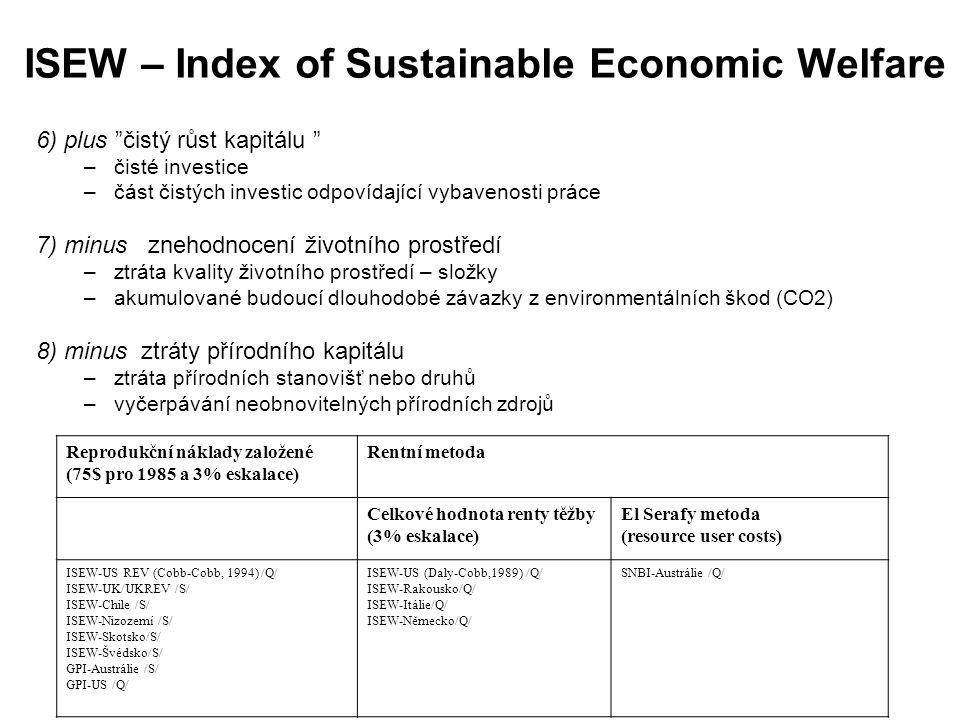"""ISEW – Index of Sustainable Economic Welfare 6) plus """"čistý růst kapitálu """" –čisté investice –část čistých investic odpovídající vybavenosti práce 7)"""