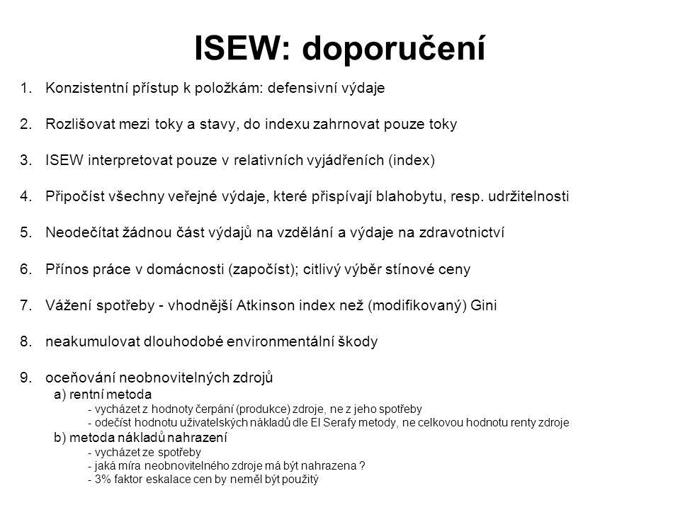 ISEW: doporučení 1.Konzistentní přístup k položkám: defensivní výdaje 2.Rozlišovat mezi toky a stavy, do indexu zahrnovat pouze toky 3.ISEW interpreto