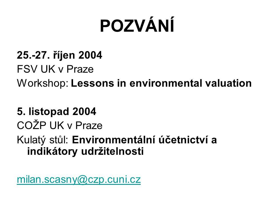 POZVÁNÍ 25.-27. říjen 2004 FSV UK v Praze Workshop: Lessons in environmental valuation 5. listopad 2004 COŽP UK v Praze Kulatý stůl: Environmentální ú
