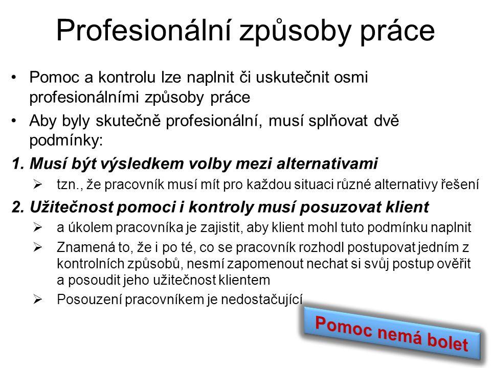 Profesionální způsoby práce Pomoc a kontrolu lze naplnit či uskutečnit osmi profesionálními způsoby práce Aby byly skutečně profesionální, musí splňov