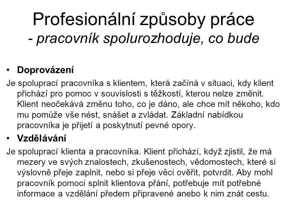 Profesionální způsoby práce - pracovník spolurozhoduje, co bude Doprovázení Je spoluprací pracovníka s klientem, která začíná v situaci, kdy klient př