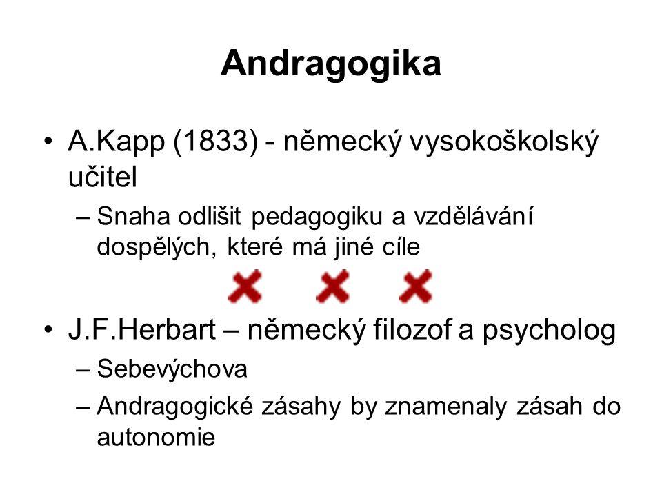 Andragogika A.Kapp (1833) - německý vysokoškolský učitel –Snaha odlišit pedagogiku a vzdělávání dospělých, které má jiné cíle J.F.Herbart – německý fi