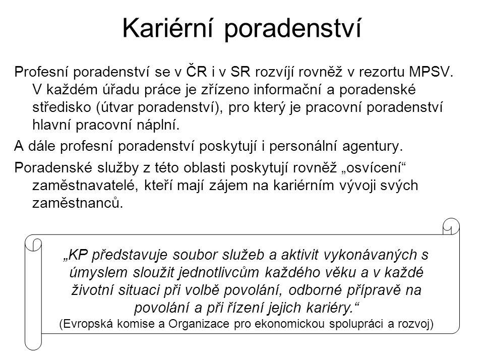 Kariérní poradenství Profesní poradenství se v ČR i v SR rozvíjí rovněž v rezortu MPSV. V každém úřadu práce je zřízeno informační a poradenské středi