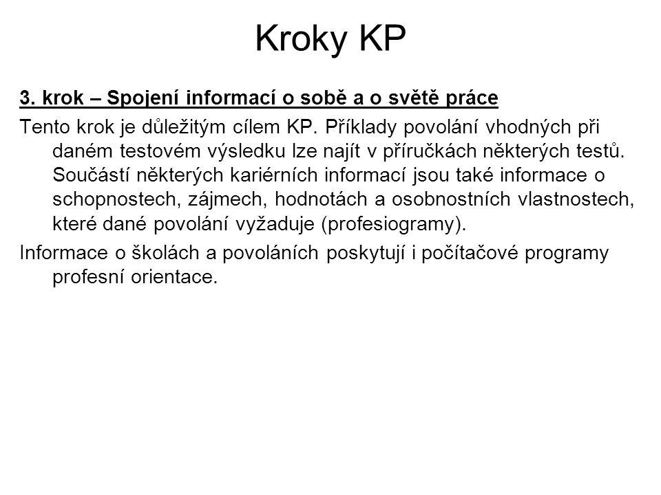 Kroky KP 3. krok – Spojení informací o sobě a o světě práce Tento krok je důležitým cílem KP. Příklady povolání vhodných při daném testovém výsledku l