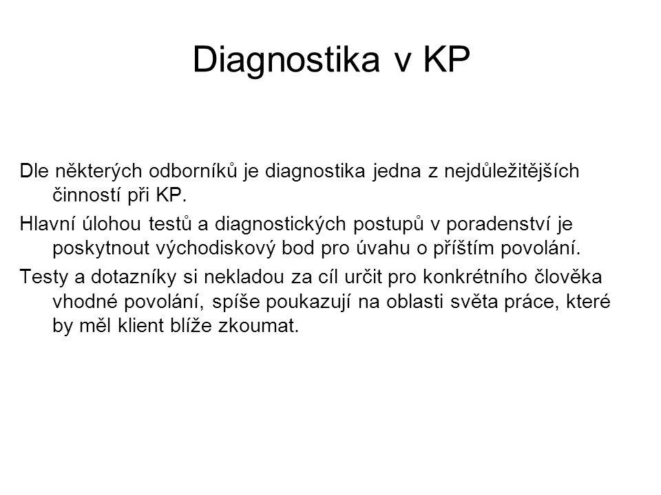 Diagnostika v KP Dle některých odborníků je diagnostika jedna z nejdůležitějších činností při KP. Hlavní úlohou testů a diagnostických postupů v porad