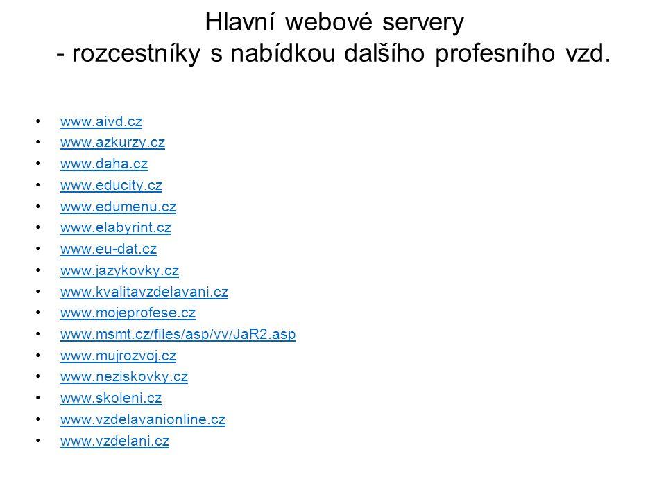 Hlavní webové servery - rozcestníky s nabídkou dalšího profesního vzd. www.aivd.cz www.azkurzy.cz www.daha.cz www.educity.cz www.edumenu.cz www.elabyr